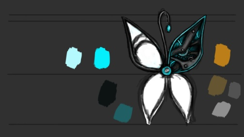 This is my final iteration of the character design for my mechanical butterfly.